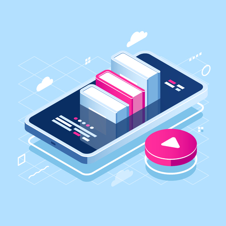 Audiobook concept isometric icon, online learning, pile of book on screen of mobile phone, internet course, tutorial application, red play button, cloud storage flat vector illustration