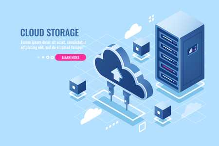Technology of cloud data storage, server room rack, database and data center isometric icon, abstract concept, download and upload file in internet repository, flat vector blue