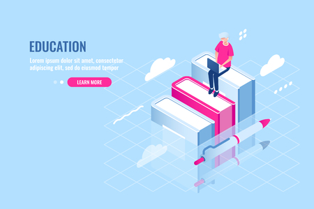 Education and study concept, learning, exam preparation, girl sitting on a book, student with laptop, school abstract isometric icon, flat vector illustration blue white 矢量图像