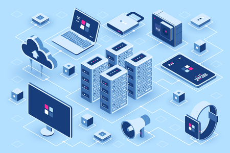 Computer technology isometric icon, server room, digital device set, element for design, pc laptop, mobile phone with smartwatch, cloud storage, flat vector illustration 矢量图像