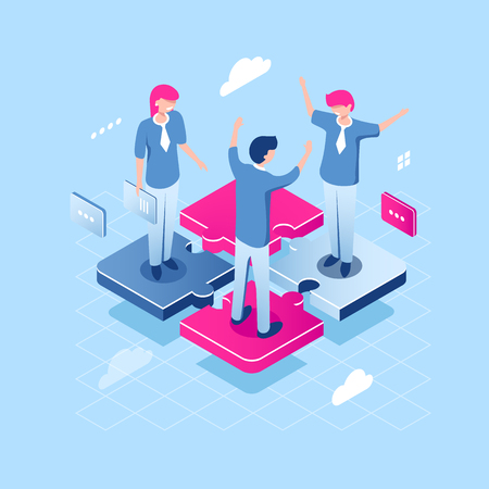 Teamwork puzzle concept, abstract team isometric business icon, collaborate of people, achievement of common goal, happy girl and young man manager, flat vector illustration blue white