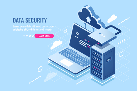 Internet data security concept, laptop with server rack and clock, protection and encryption data transfer, cloud data storage isometric icon, database query, pc antivirus flat vector illustration Иллюстрация