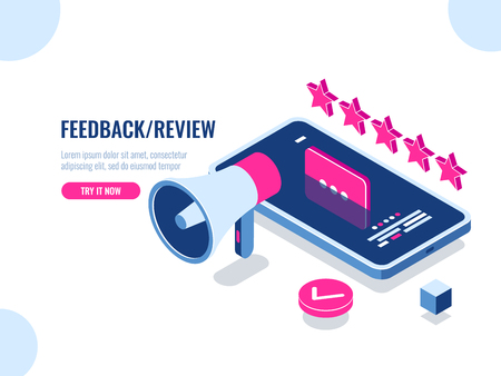 Review on the Internet, content rating and management isometric, positive review, evaluation of the application, the message on the screen of the mobile phone smartphone, flat vector illustration