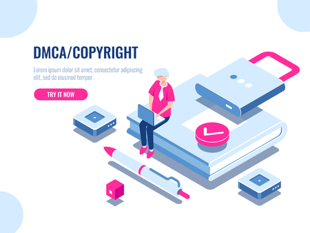 DMCA data copyright isometric icon, content security, book with lock, electronic digital contract, young man with laptop pc, flat cartoon vector