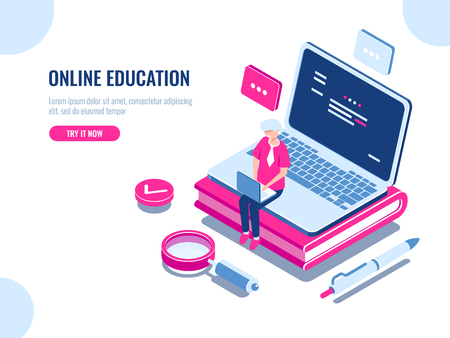 Online education isometric concept, laptop on book, internet course for learning on home, young man working on pc, cartoon flat vector illustration