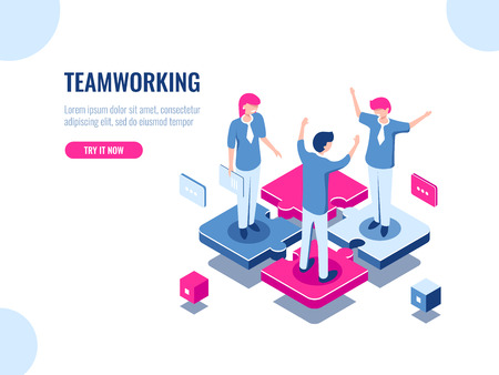 Teamwork success isometric icon, puzzle business solution, working together, association of people, startup, flat vector illustration 矢量图像