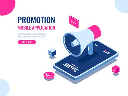 Mobile notification, loudspeaker, mobile application advertising and promotion, digital PR management, cartoon isomeric flat vector