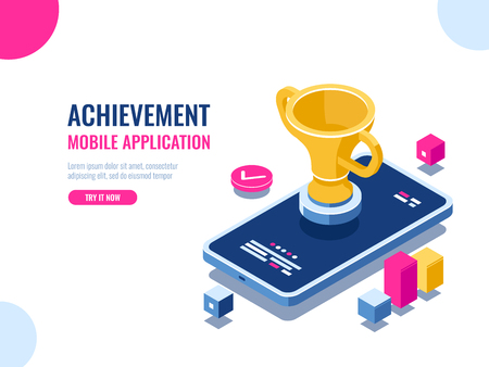 Achievement in education process isometric, mobile phone with golden cup, winner smartphone game, business success result of year, cartoon vector