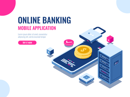 Safety of money on internet, protected transaction payment, mobile application online bank, blockchain technology, cryptocurrency, server room database, coin vector illustration Vectores