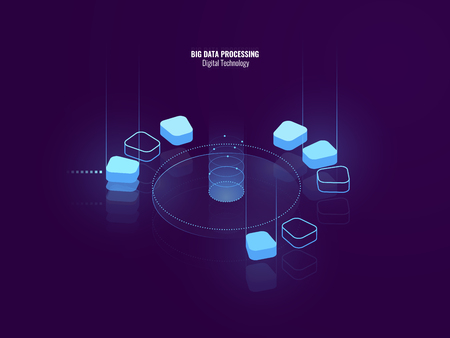 Awesome isometric banner of digital technology, isometric abstract icon of big data processing, conceptual cloud storage, data warehouse of future, blockchain, lighting neon, vector illustration 矢量图像
