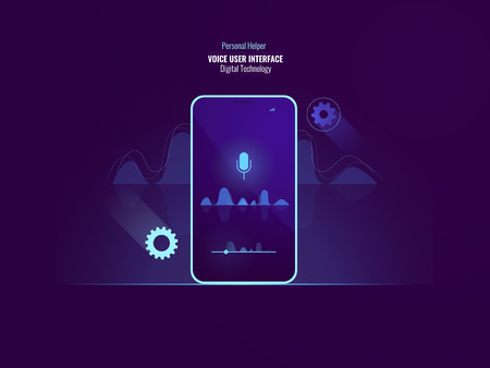 Awesome voice user interface command concept, mobile phone with sound wave, equalizer, helper application, speech recognition, flat vector illustration 矢量图像
