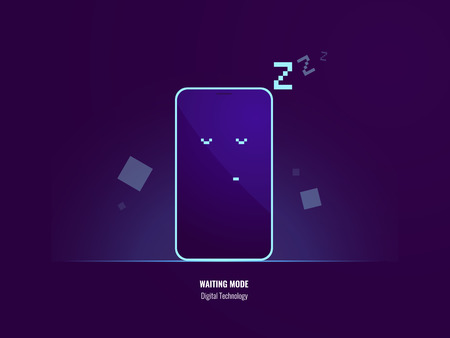 Waiting mode of mobile phone, slipping smartphone, low battery, apps flat vector illustration