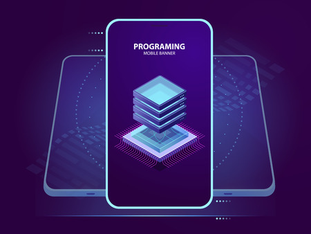 Mobile banner of development and programming of mobile application, server room isometric icon, database and cloud computing isometric vector icon