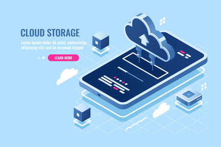 Mobile application isometric icon, download file on smartphone from cloud server storage, safety remote data backup, cloud calculation power flat vector illustration blue white