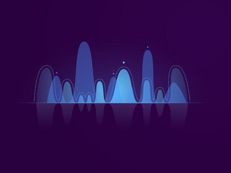 Music sound wave, blue lighting, dark neon vector illustration