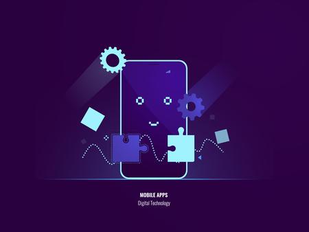 Mobile apps concept, connection puzzle, uploading smartphone software, happy mobile phone, setting program flat vector illustration dark neon 矢量图像