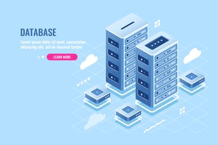 Server room, web site hosting, cloud storage, database and data center isometric icon, blockchain digital technology, flat vector illustration blue white 矢量图像