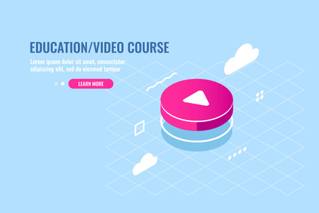 Isometric icon of red round play button, media player, video content, cloud storage of media files, flat vector illustration