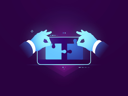 Mobile application testing, connection of two pieces of puzzle, ux ui design development concept, user experience and interface building for mobile application flat vector illustration 矢量图像
