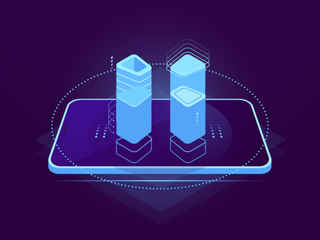 Cloud server hosting, mobile interface, holographic control element, cloud storage, database remote file warehouse concept, api function isometric vector