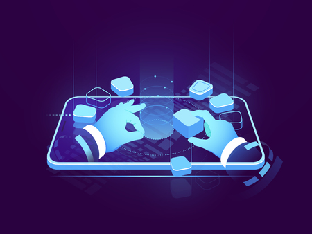 Holographic display isometric neon, digital futuristic technology, user interface development design, building mobile application, big data processing, cyber security isometric vector illustration 矢量图像