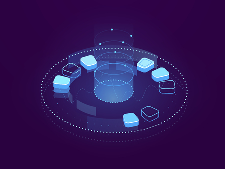 Abstract banner of Data visualization, big data processing, cloud storage and server hosting, internet cyberspace, futuristic holographic interface, database and cloud storage isometric flat vector