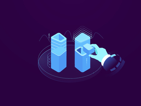 Cloud server solution, digital technology concept, put information in database, recording and reading of data, server room rack farm flat isometric vector illustration