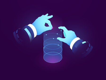 Data science and insights, man hand control, experiment visualization, dataflow graph, manipulation with genomic structure, scientist in laboratory 3d flat vector illustration