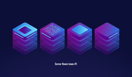 Set of server room icons, 3d database and datacenter concept, lighting technology object, element for design ultraviolet neon dark isometric vector illustration