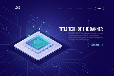 Computer technology isometric abstract banner, cpu server, big data processing, machine learning, neural network, data transfer and processing neon vector