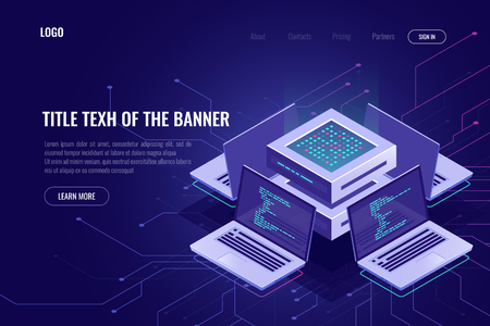 Artificial intelligence isometric abstract banner, neural network, server computers, software development, digital technology, smart system 免版税图像 - 121021755