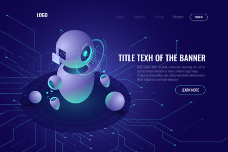 Robotics technology, machine education and artificial intelligence ai isometric icon, data processing, robotica concept, smart tech, ultraviolet vector web vector