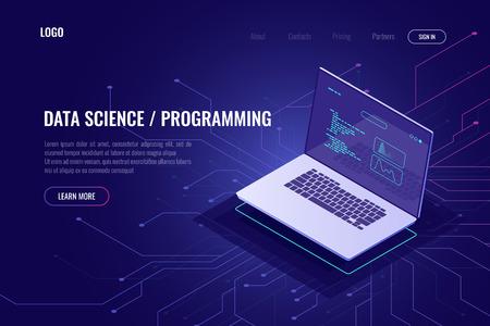 Icône isométrique de bannière de page Web de programmation et de développement de logiciels, ordinateur portable avec code de programme à l'écran, statistique de données et concept abstrait d'analyse, schéma micro, ultraviolet