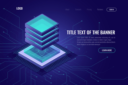 computing abstract isometric 3d icon, cloud computing and data processing concept, super computer processor, quantum pc, futuristic digital technology, modern landing page vector ultraviolet 矢量图像