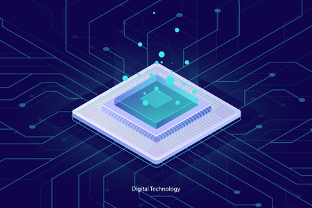 Computer microchip cpu, isometric icon, abstract concept of computing, data processing, digital technology element for design or landing page, server room cloud data ultraviolet vector
