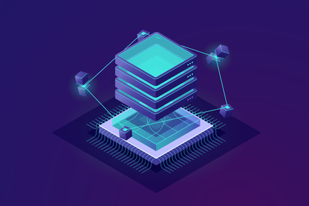 The technology of the future isometric icon, big data processing abstract concept, server room, cloud computing, progress of data science, exchange of information vector illustration