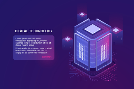 Blockchain technology isometric icon, server room and database, data warehouse and cloud computing concept ultraviolet landing web page vector illustration