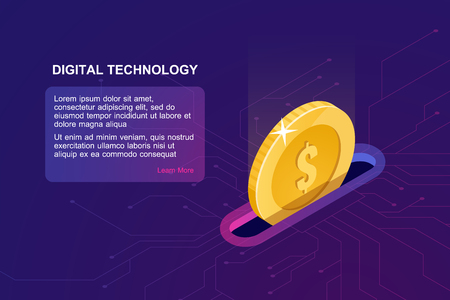 Digital banking online, isometric icon of falling coin, electronic internet purse, financial management online service accumulation and investment of funds, ultraviolet vector Ilustrace