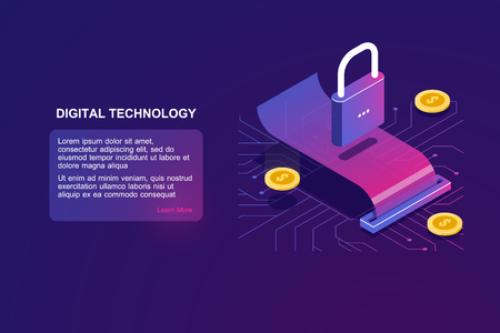 Payment security and money transaction, isometric icon of lock, digital banking, online bank operation, cryptocurrency and blockchain pay sistem, payrool receipt, coin on bill, vector ultraviolet