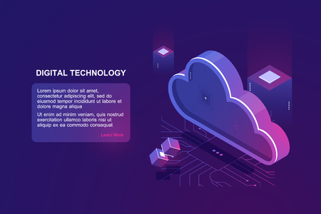 Abstract concept of digital cloud computing, cloud data storage, server room, database and data warehouse, website landing page vector ultraviolet 矢量图像