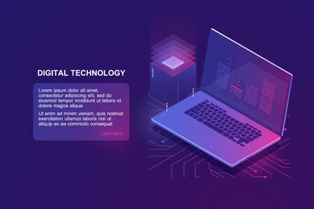 Laptop with program code on screen, isometric icon of programming, online education of software development, digital technology, cloud storage and computing concept, machine learning ultraviolet vector Stock Vector - 124890215