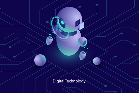 Robot ai artificial intelligence, online consultation and support, computer technology, automated system of analysis and analytic isometric vector dark neon Illustration