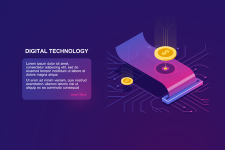 Online payment, paper receipt isometric icon vector, tax with coin, money transaction concept, technology for money accounting dark neon illustration 矢量图像