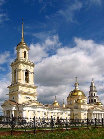 pilaster: Beautiful Cathedral in Nevjansk, Russia, Sverdlovsky region