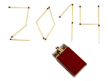 0 1 years: New year 2014 made of matches and matchbox isolated on white background.
