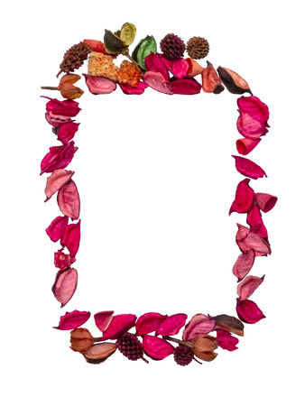 Frame in the shape of a rectangle made of dried flowers petals Reklamní fotografie