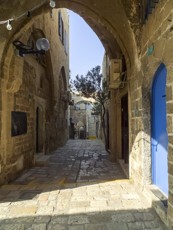 View of an old stone-clad street in historic Jaffa, Israel photo
