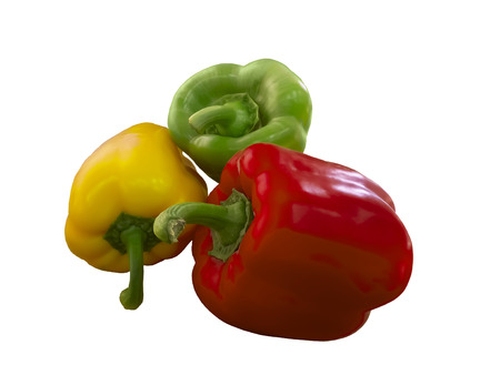 pimento: Red, green  and yellow bell peppers isolated on white background Stock Photo