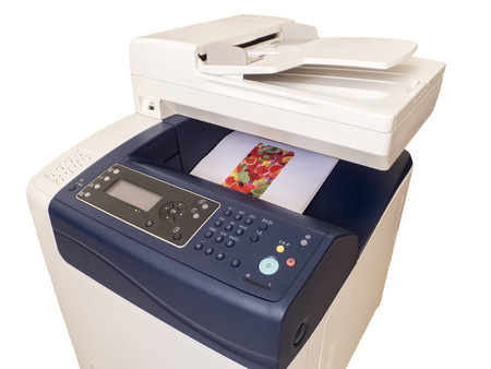 Multifunction color printer, isolated on white background photo
