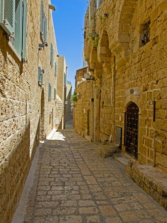 yaffo: Calles estrechas y empedradas en la parte antigua de Jaffa, Israel